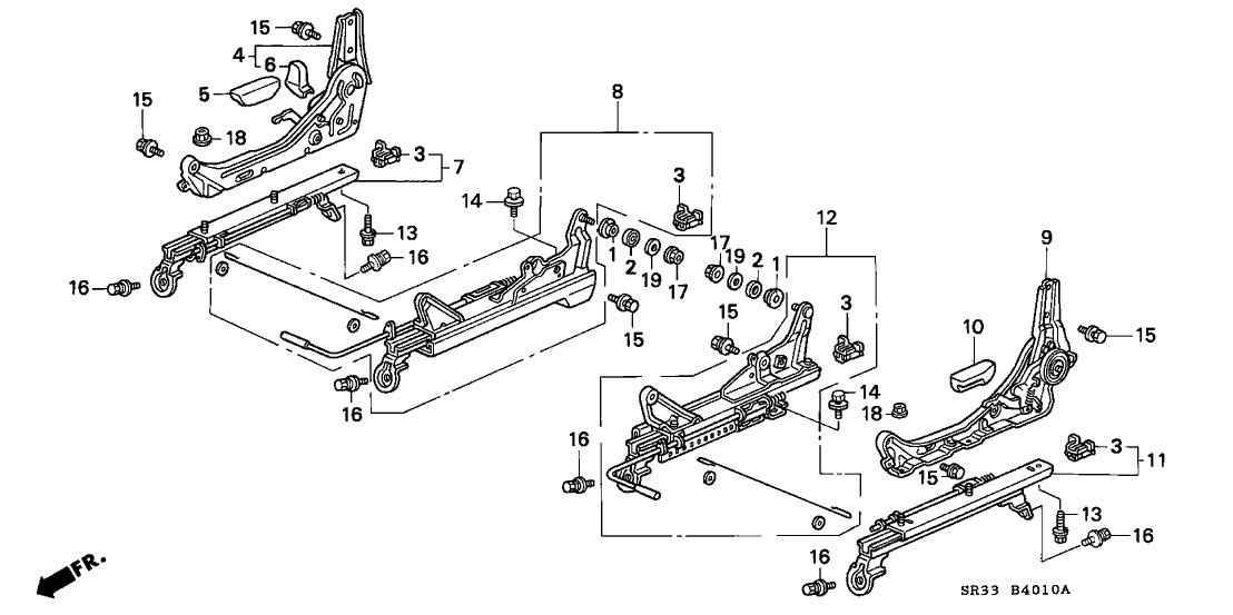 1993 Honda Civic 3 Door SI KA 5MT Front Seat Components