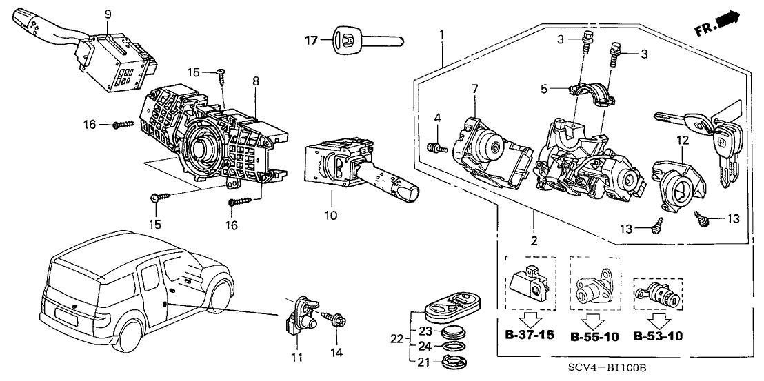 2003 Honda Element 5 Door DX (4WD) KA 4AT Combination Switch
