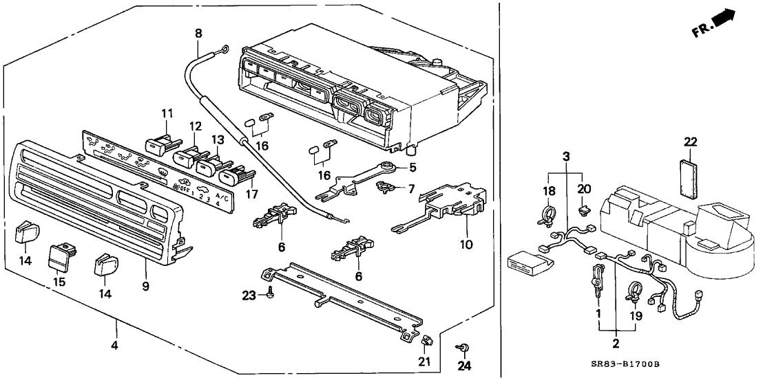 1994 Honda Civic 2 Door EX KL 5MT Heater Control