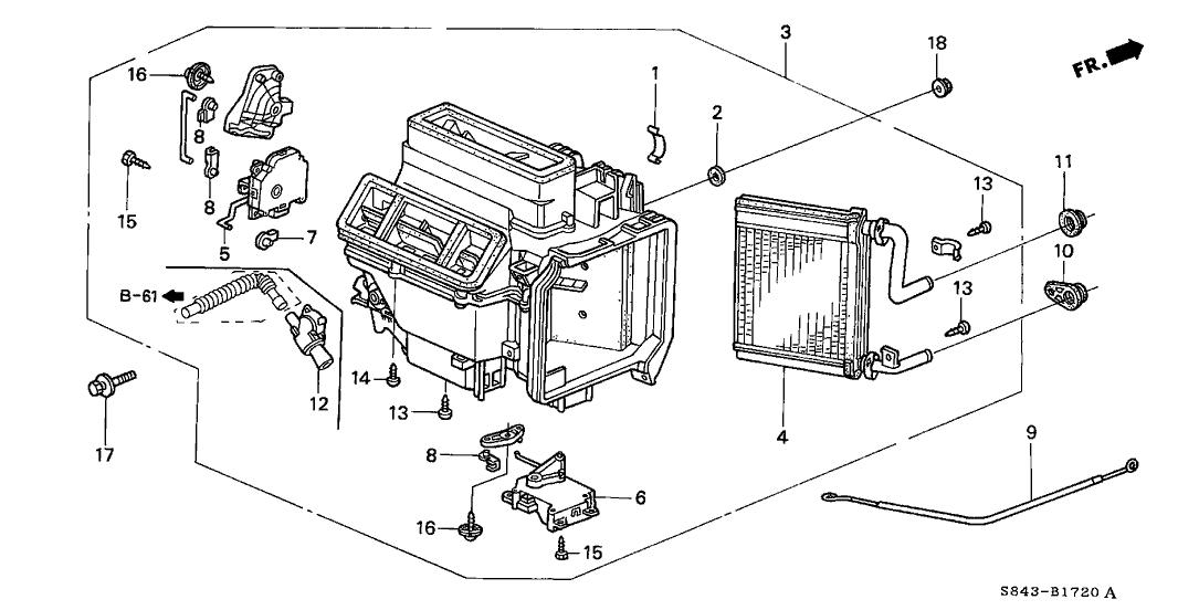 1998 Honda Accord 2 Door EX (LEATHER) KA 5MT Heater Unit