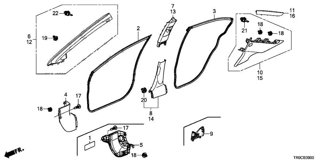 2014 Honda Civic 4 Door EX KA CVT Pillar Garnish