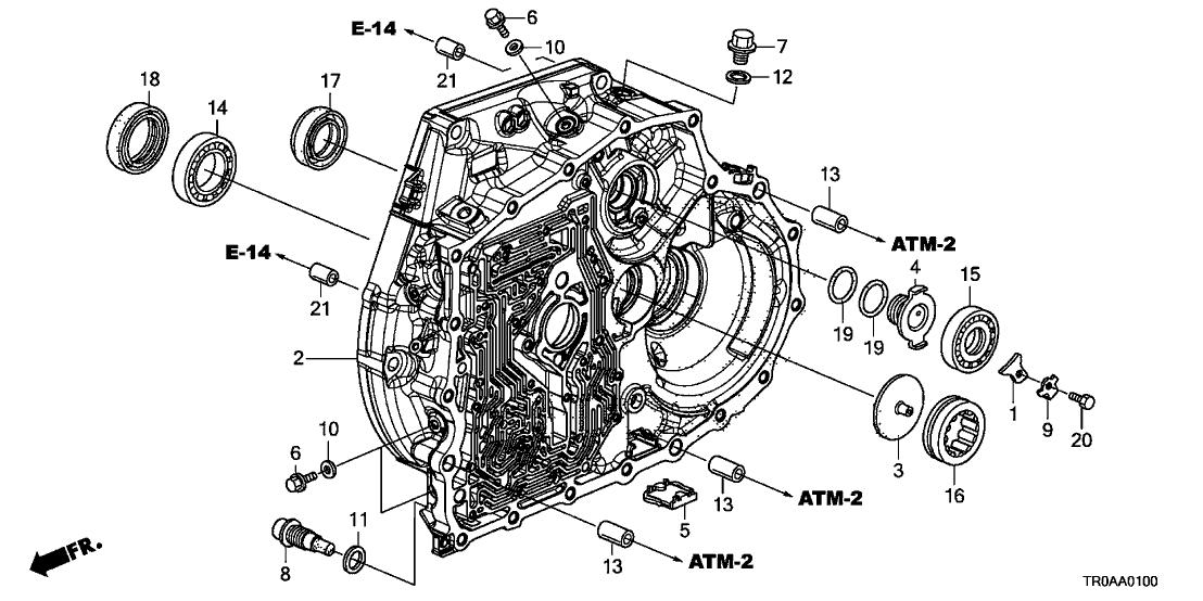 2013 Honda Civic 4 Door EX KA 5AT AT Torque Converter Case