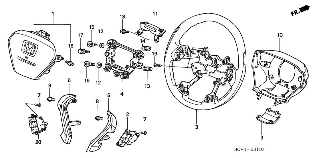 2003 Honda Element 5 Door DX (2WD) KA 4AT Steering Wheel (SRS)