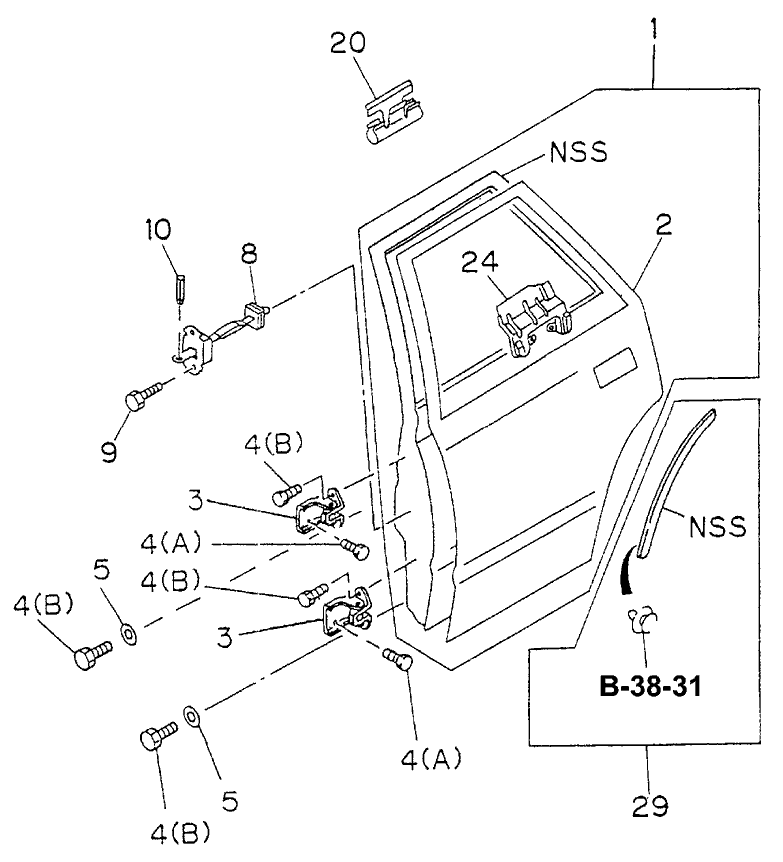 1995 Honda Passport 4 Door LX-W (4X4 V6) KL 4AT Rear Door