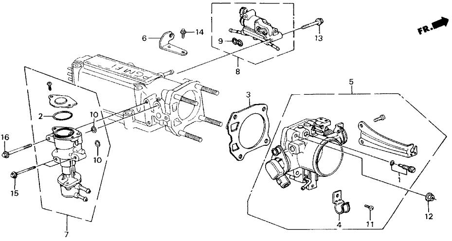 1989 Honda Accord 2 Door LXI KA 4AT Throttle Body (PGM-FI)