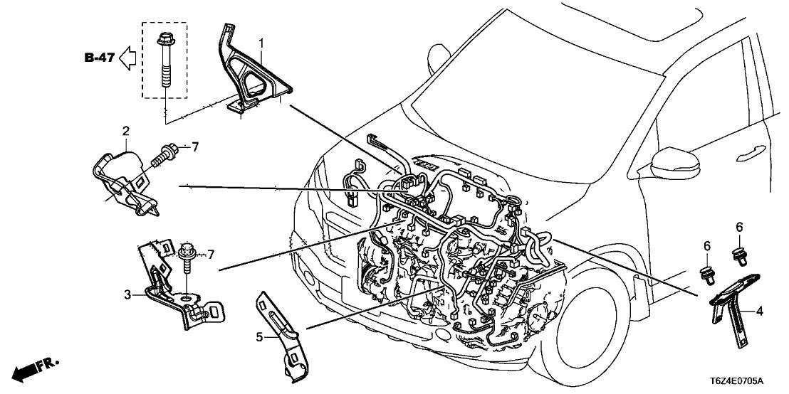 2017 Honda Ridgeline 4 Door RTL (AWD) KA 6AT Engine Wire