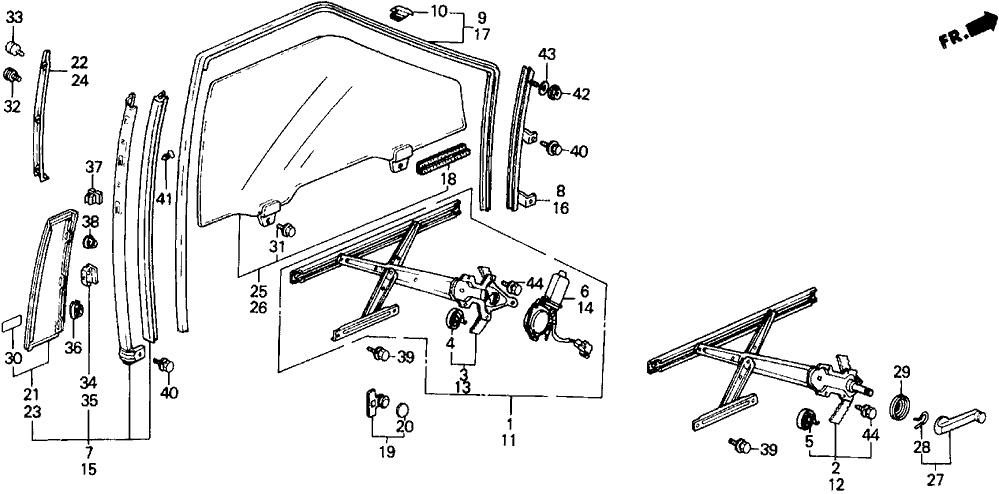 1989 Honda Prelude 2 Door 2.0SI (4WS) KA 5MT Door Window