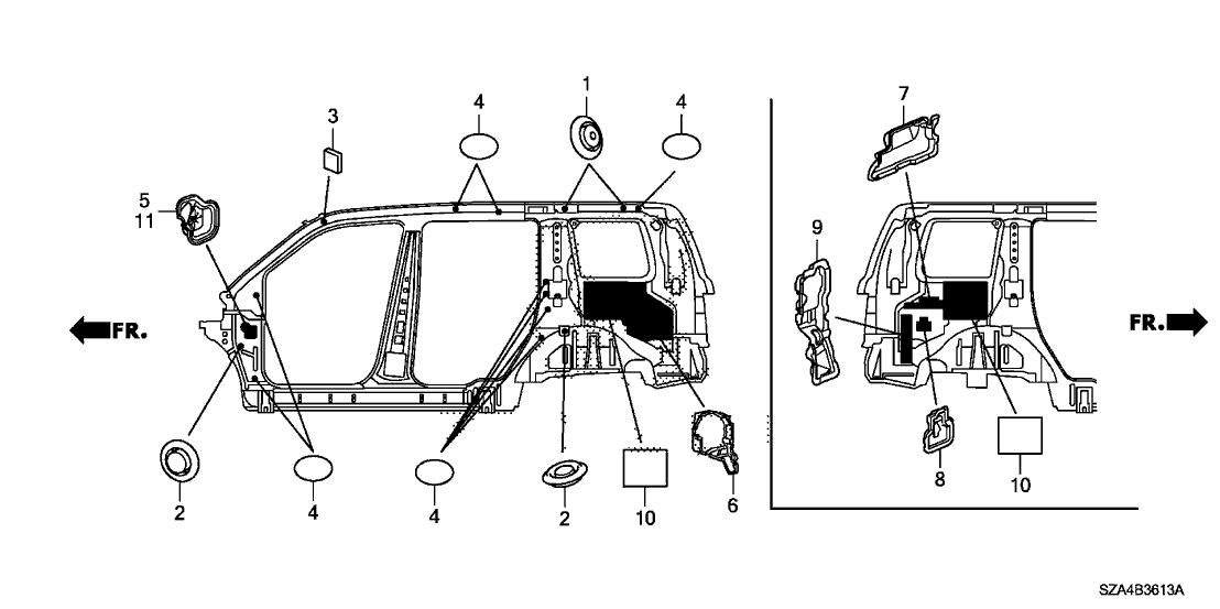 2012 Honda Pilot 5 Door EX-L (4WD) KA 5AT Grommet (Side)