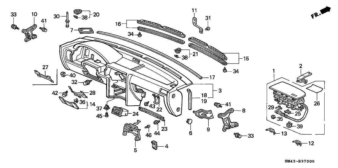 1991 Honda Accord 4 Door LX KL 5MT Instrument Panel