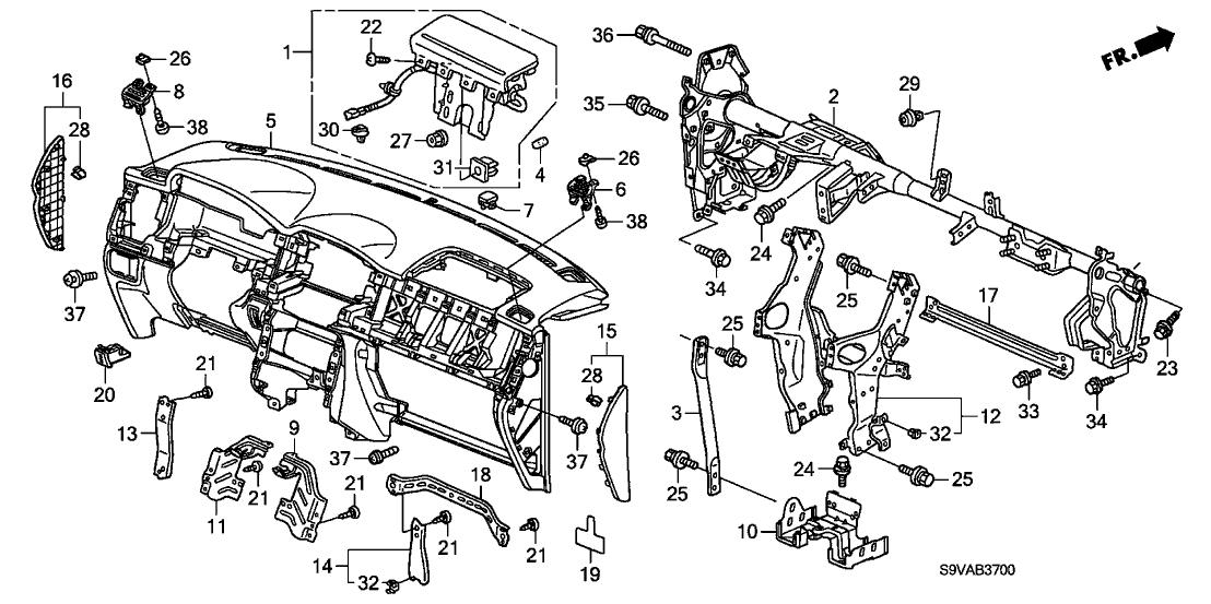2008 Honda Pilot 5 Door EXL (4WD) KA 5AT Instrument Panel