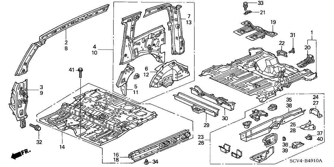 2006 Honda Element 5 Door EX (4WD SD A/B) KA 4AT Floor