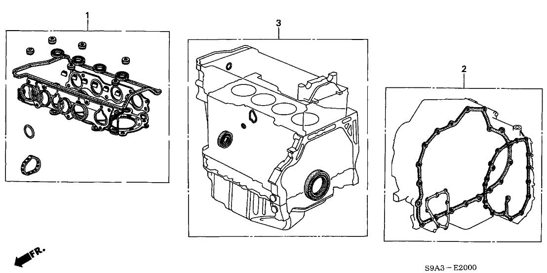 2003 Honda Element 5 Door EX (2WD) KA 4AT Gasket Kit