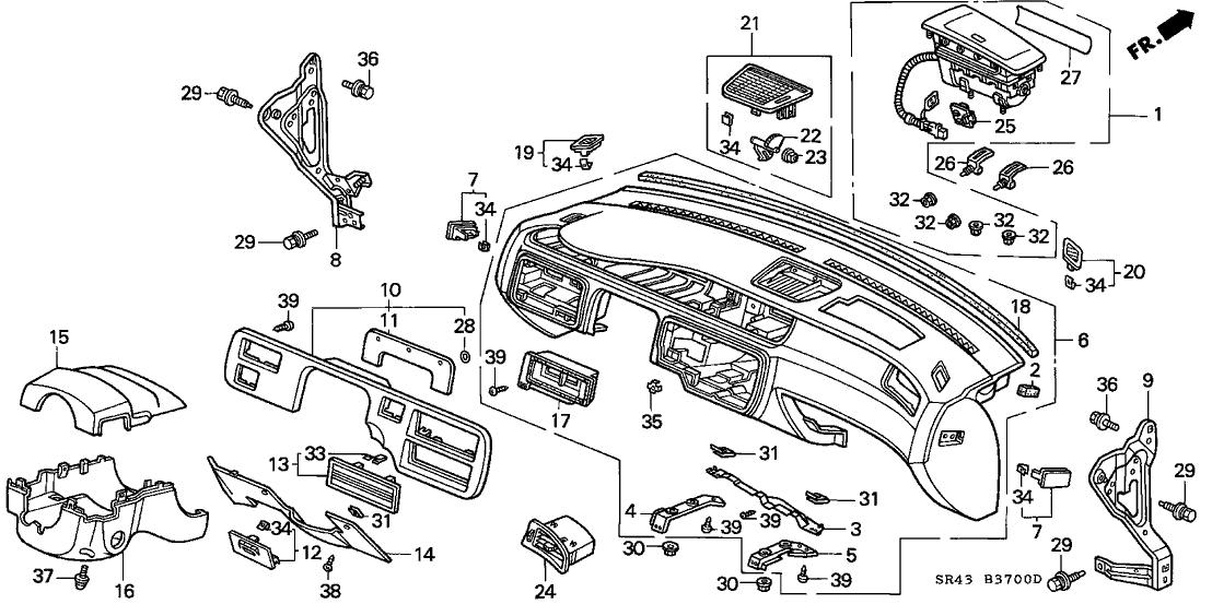 1992 Honda Civic 4 Door LX KA 5MT Instrument Panel