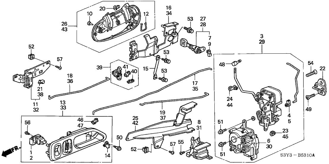 2001 Honda Insight 3 Door DX (A/C) KA 5MT Door Locks