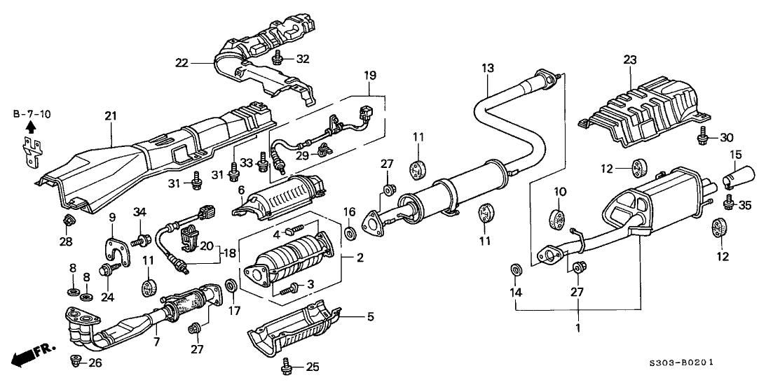 1999 Honda Prelude 2 Door TYPESH KA 5MT Exhaust Pipe