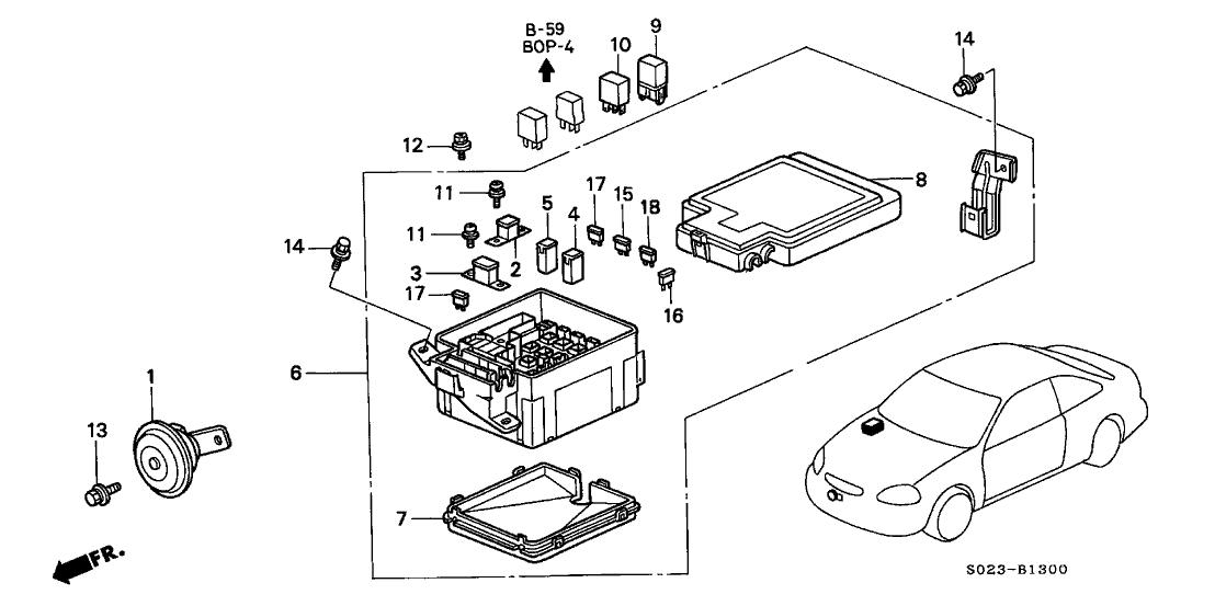 2000 Honda Civic 2 Door SI KA 5MT Control Unit (Engine Room)