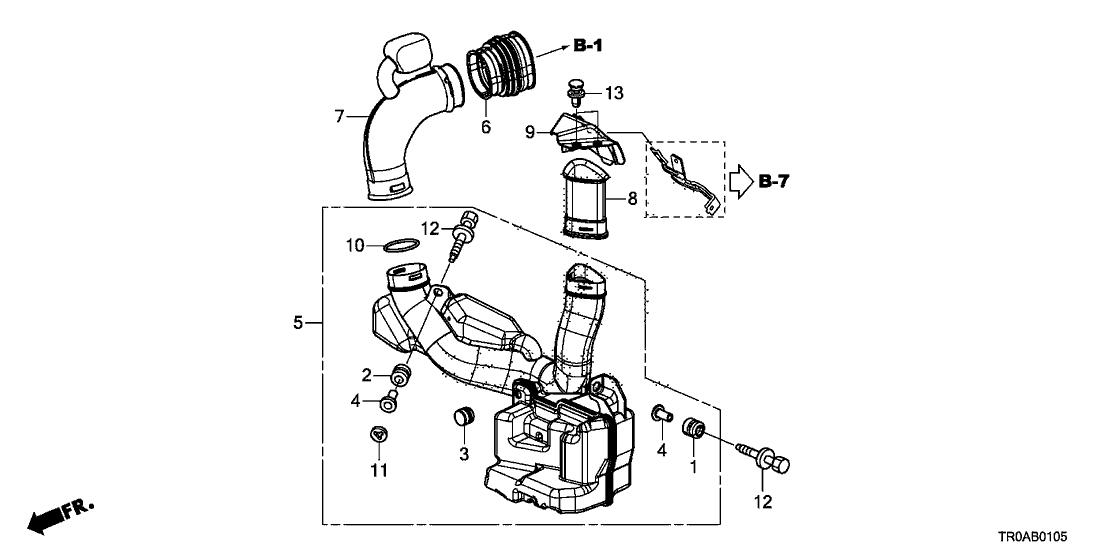 2013 Honda Civic 4 Door EX-L KA 5AT Resonator Chamber (1.8L)