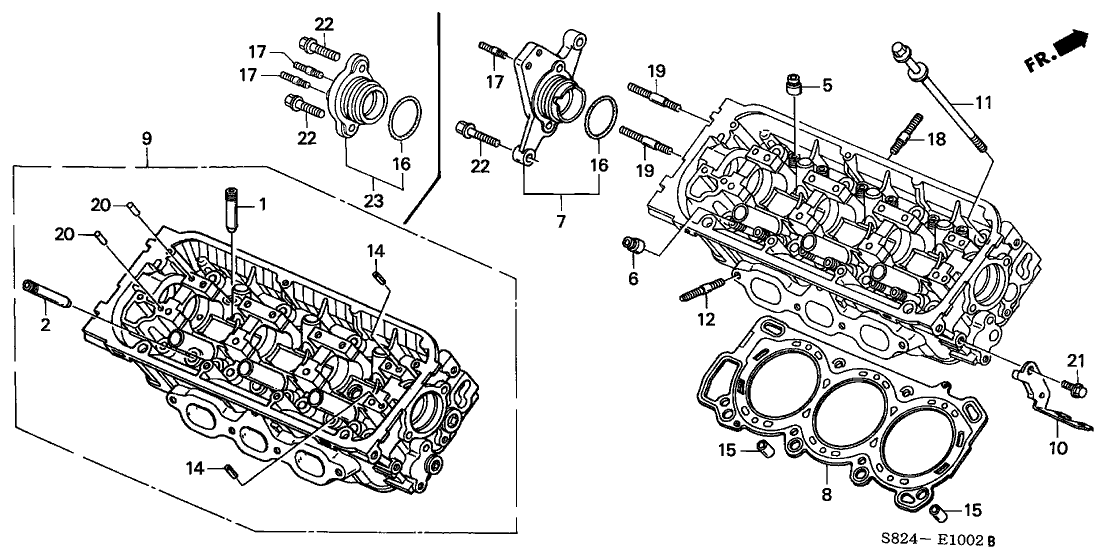 2000 Honda Accord 2 Door EX (V6) KA 4AT Rear Cylinder Head