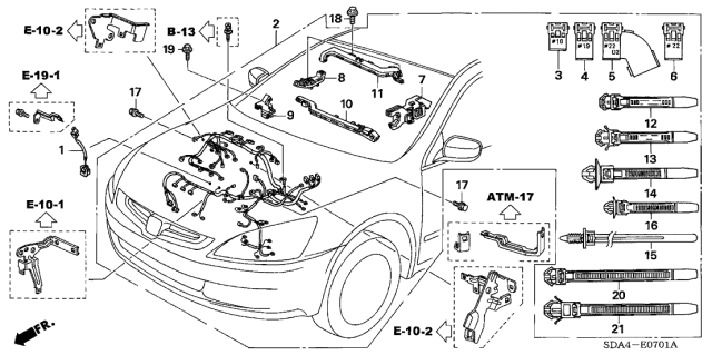 2003 Honda Accord 4 Door EX (V6) KA 5AT Engine Wire