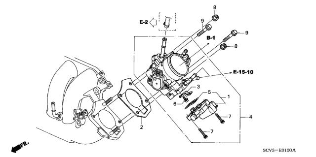 2004 Honda Element 5 Door LX (2WD) KA 4AT Throttle Body
