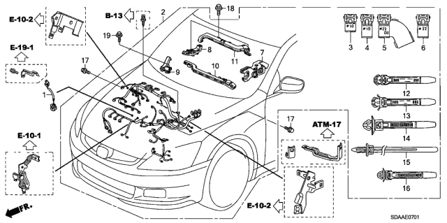 2007 Honda Accord 4 Door EX (V6) KA 5AT Engine Wire