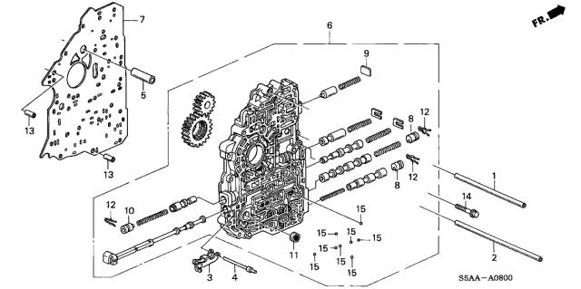 2001 Honda Civic 2 Door EX KA 4AT AT Main Valve Body