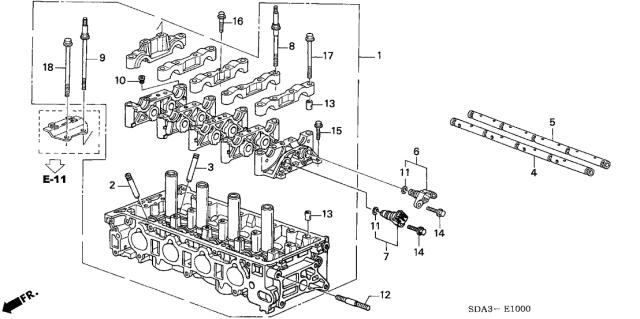 2004 Honda Element 5 Door LX (2WD) KA 4AT Cylinder Head