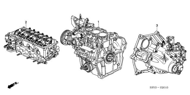 2003 Honda Insight 3 Door DX KA 5MT Engine Assy