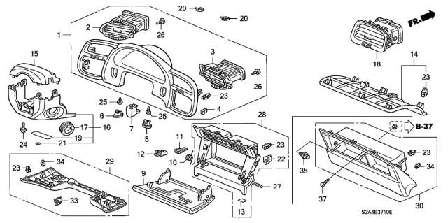 2006 Honda S2000 2 Door S2000 KA 6MT Instrument Panel Garnish