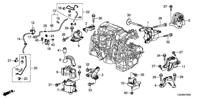 2014 Honda Accord 4 Door EX KA 6MT Engine Mounts (L4)