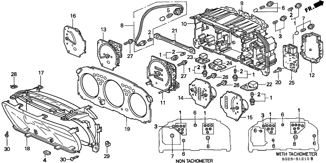 1999 Honda Civic 2 Door EX KA 5MT Combination Meter Components