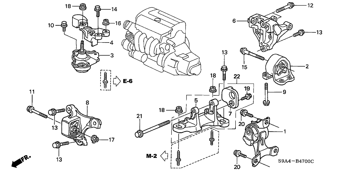 2003 Honda CR-V 5 Door EX (4WD) KA 5MT Engine Mounts