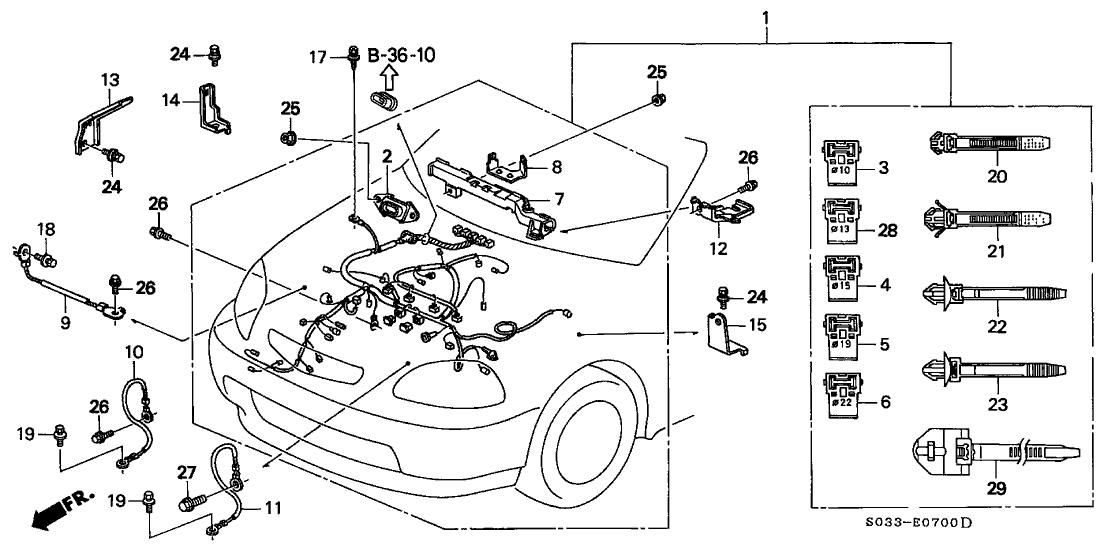1998 Honda Civic 3 Door DX KA 5MT Engine Wire Harness
