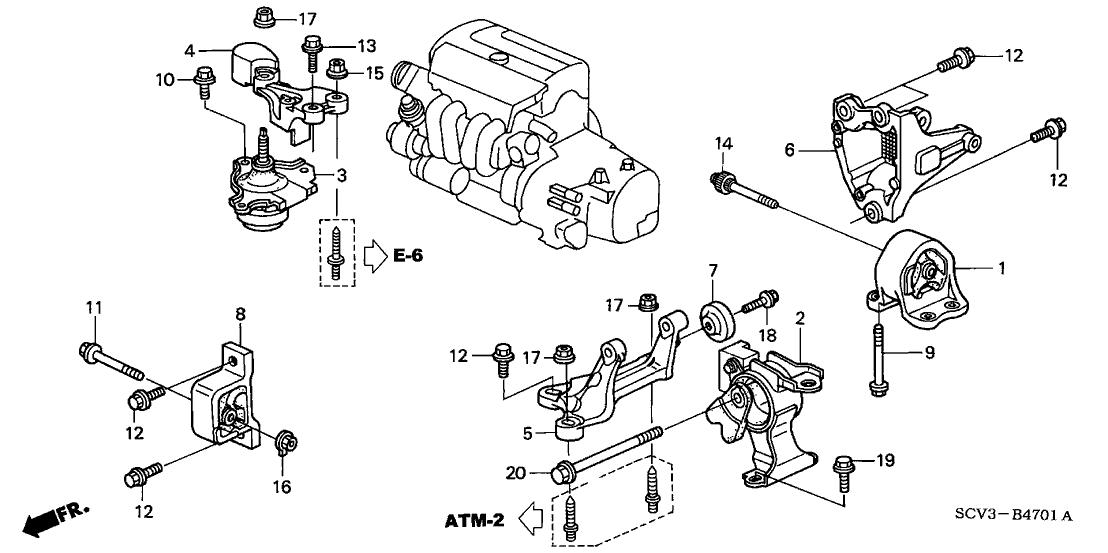 2003 Honda Element 5 Door DX (2WD) KA 4AT Engine Mounts