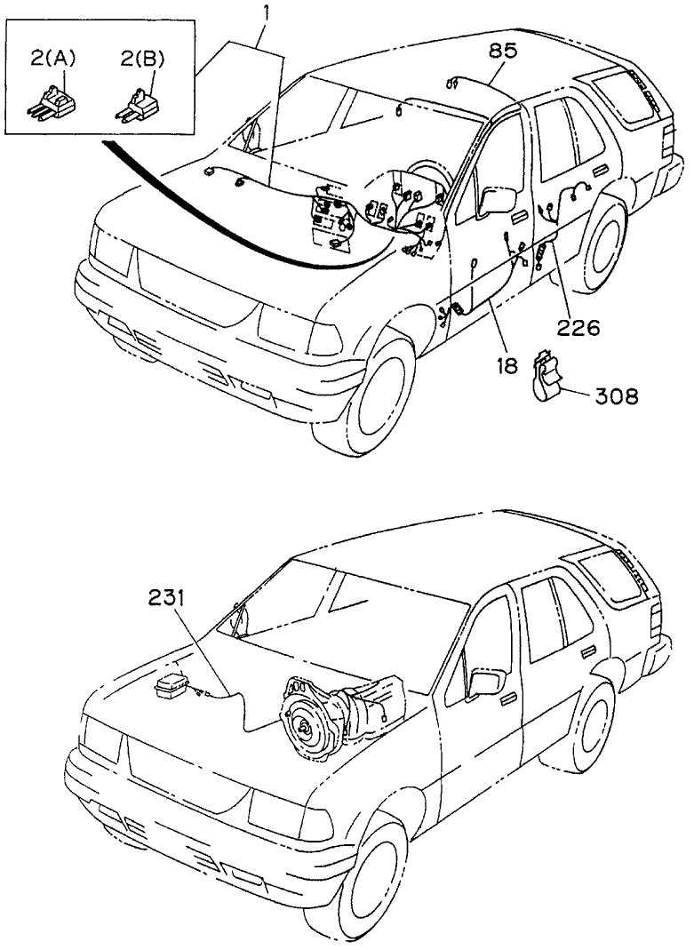 1994 Honda Passport 4 Door LX (4X4 V6) KL 4AT Wiring