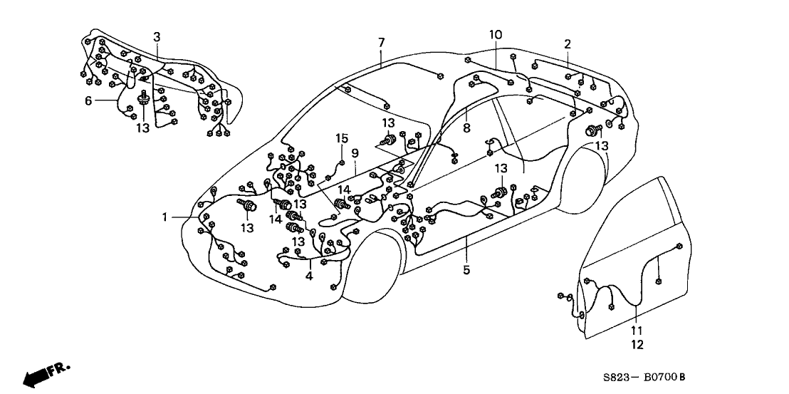 1998 Honda Accord 2 Door EX (UL) KL 4AT Wire Harness