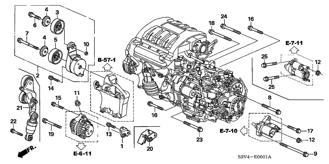 2005 Honda Pilot 5 Door EX KA 5AT Alternator Bracket