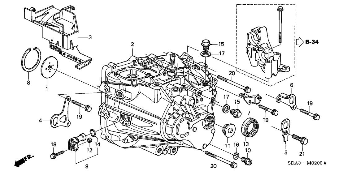 2003 Honda Accord 4 Door LX KA 5MT MT Transmission Case (L4)