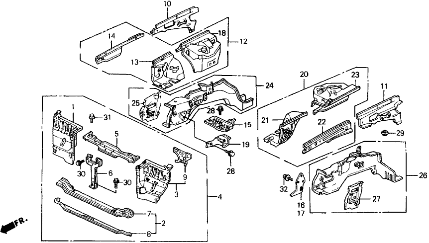 1988 Honda Prelude 2 Door 2.0SI (4WS) KA 5MT Front Bulkhead