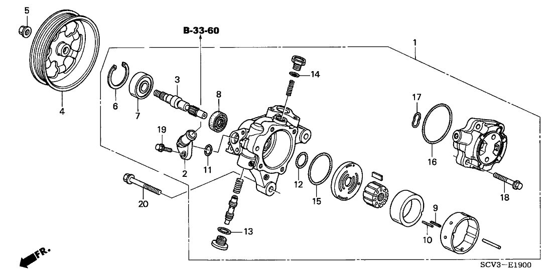 2004 Honda Element 5 Door EX (4WD SD A/B) KA 4AT P.S. Pump