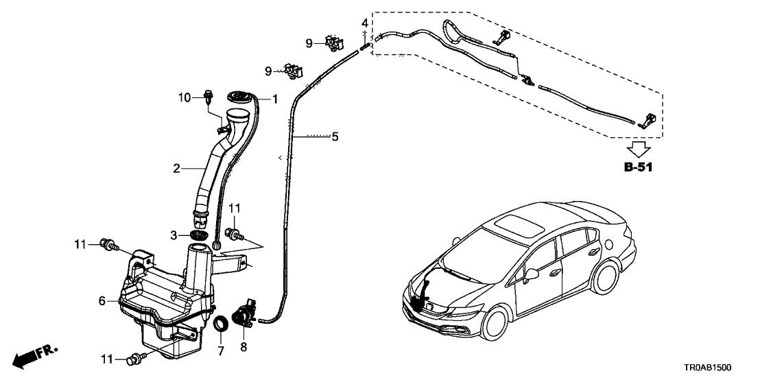 2013 Honda Civic 4 Door LX KA 5AT Windshield Washer