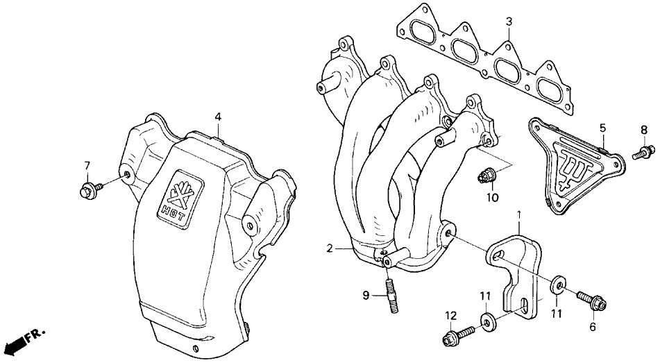 1992 Honda Prelude 2 Door SI KA 4AT Exhaust Manifold