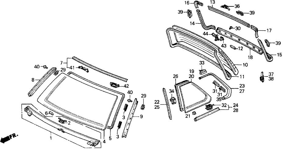 1991 Honda Prelude 2 Door 2.05SI (4WS) KA 5MT Windshield