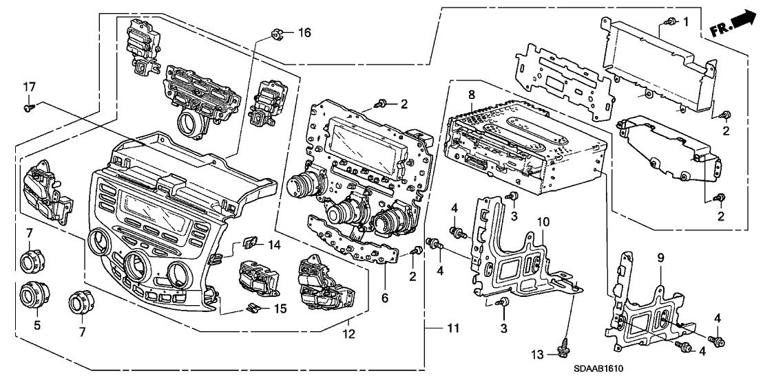 2007 Honda Accord 4 Door LX KA 5AT Center Module (Alpine