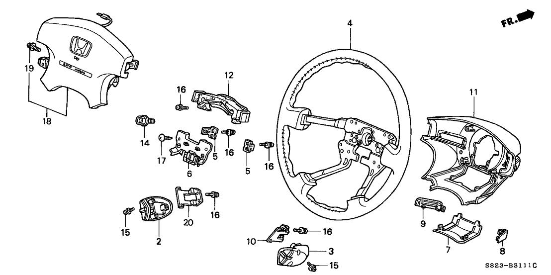 2000 Honda Accord 2 Door EX (V6) KA 4AT Steering Wheel
