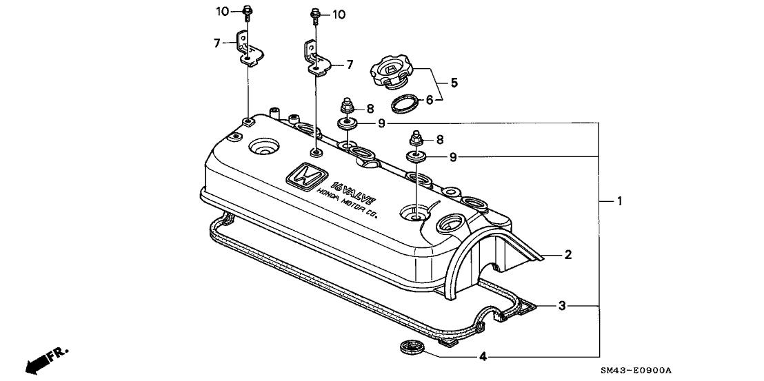 1992 Honda Accord 4 Door EX KL 5MT Cylinder Head Cover