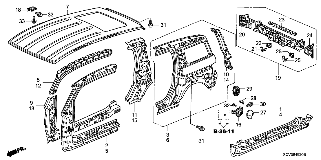 2005 Honda Element 5 Door EX (4WD SD A/B) KA 4AT Outer