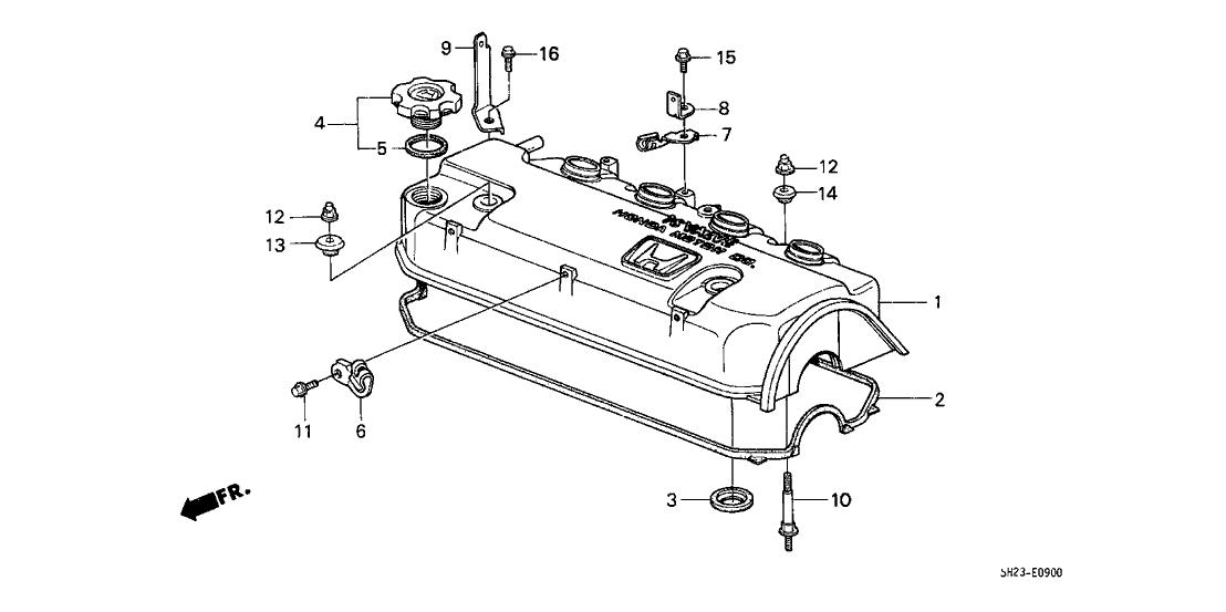 1991 Honda CRX 2 Door DX KA 5MT Cylinder Head Cover
