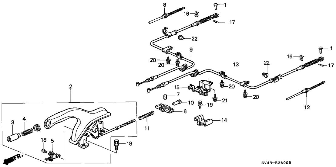 1995 Honda Accord 4 Door LX (ABS) KA 5MT Parking Brake