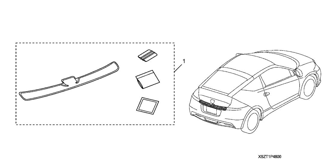 2011 Honda CR-Z 3 Door BASE KA 6MT Bumper Applique, Rear